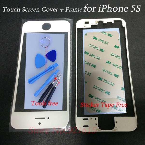 Wholesale-LCD Touch Screen Panel Cover Front Glass Lens with Frame Bezel 3M Adhesive Sticker Tape Screwdriver Tool Kits for iPhone 5S