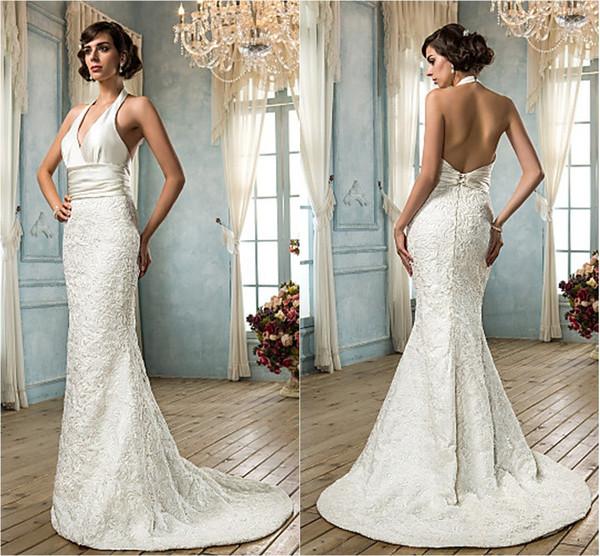 2016 New Fashion Popular Free Shipping Ivory Sweep/Brush Train Halter Backless Lace/Satin Natural Sheath Wedding Dresses 212