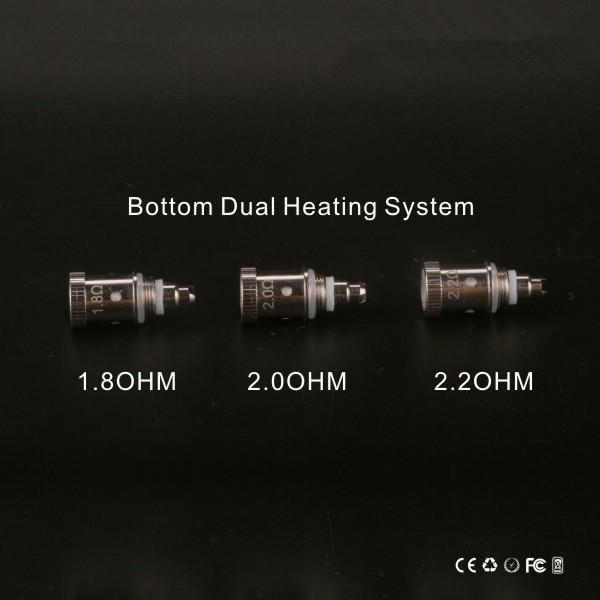 top popular GS H2S Dual Coils V-Core III Atomizer Coil Head 1.8ohm 2.0ohm 2.2ohm Bottom Coils For GreenSound Clearomizer Updated Ego H2 2021