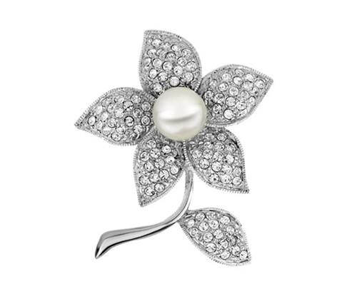 New ! Rhodium Silver Plated Vintage Look Clear Rhinestone Crystal Diamante Flower Wedding Bouquet Brooches and Pins with Cream Pearl