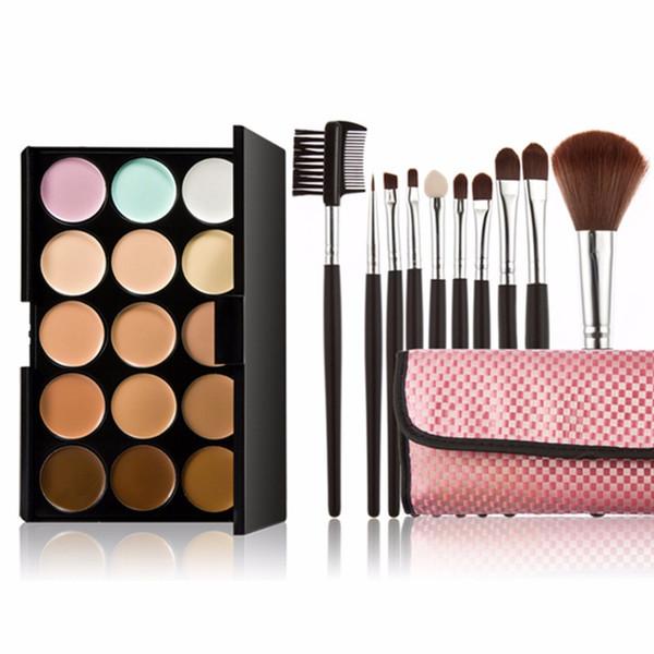 15 Color Pro Makeup Concealer Cream Cosmetic Palette 10pcs Brush Pink Makeup Base Foundation Concealers Face Powder
