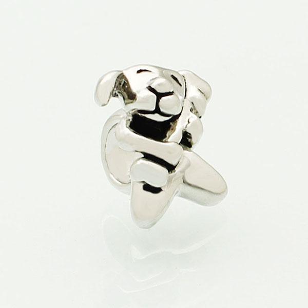 Alloy Material With Rhodium Silver Color Plating dog hunging bone Bead Black Enamel Charm Fit Pandora Bracelet