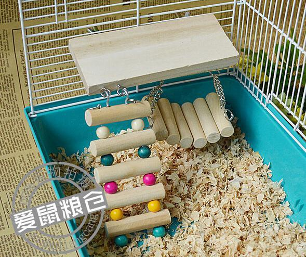 Mascota Pájaro Hámster Juguete de madera Rata Ratón Loro Colgando Escalera Puente Estante Jaula