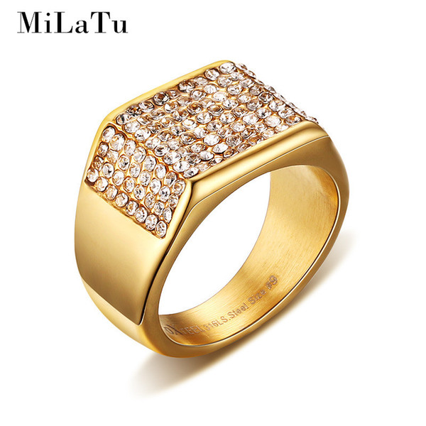 Wholesale- MiLaTu Luxury Wedding Rings For Men Gold-color Stainless Steel Pave Setting Rhinestone Rings Male Jewelry Father's Gift R266G