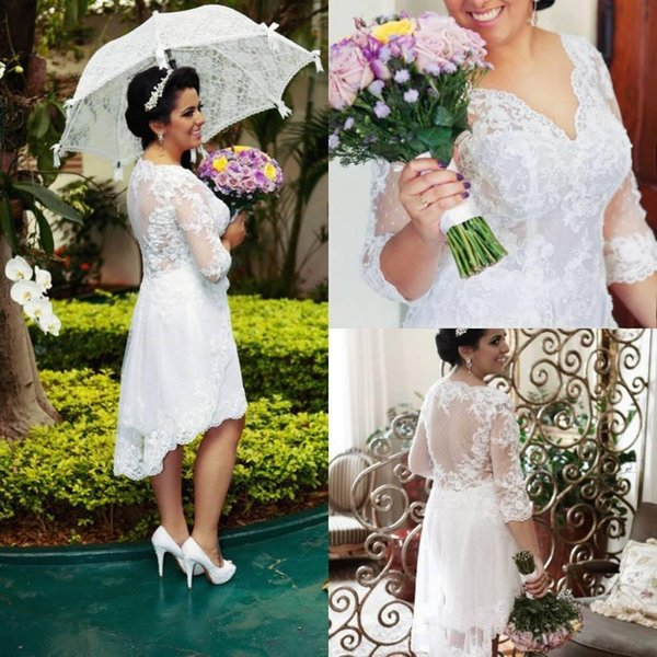 2016 plus size wedding dresses 34 sleeve v neck lace high low tea