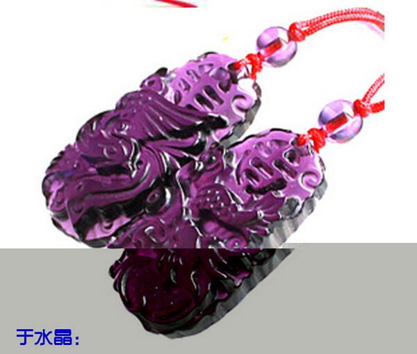 Dragon Perry - Coppia collana pendente in cristallo colorato di giada viola