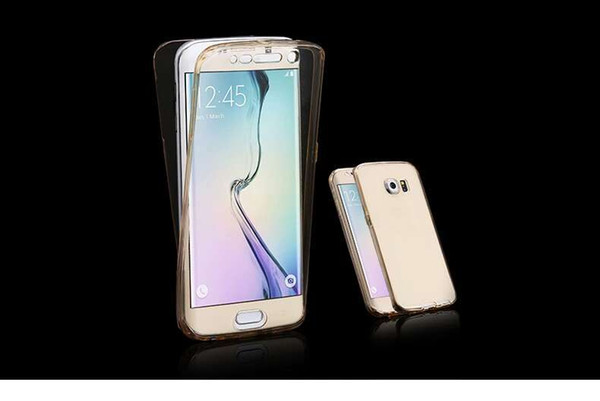 Hot Sale For iPhone 6 6s 6plus Samsung S7 S7edge S6 S6 edgeSmart Screen 360TPU Soft Ultra-thin Transparent 2 in 1 Front And Back Cove