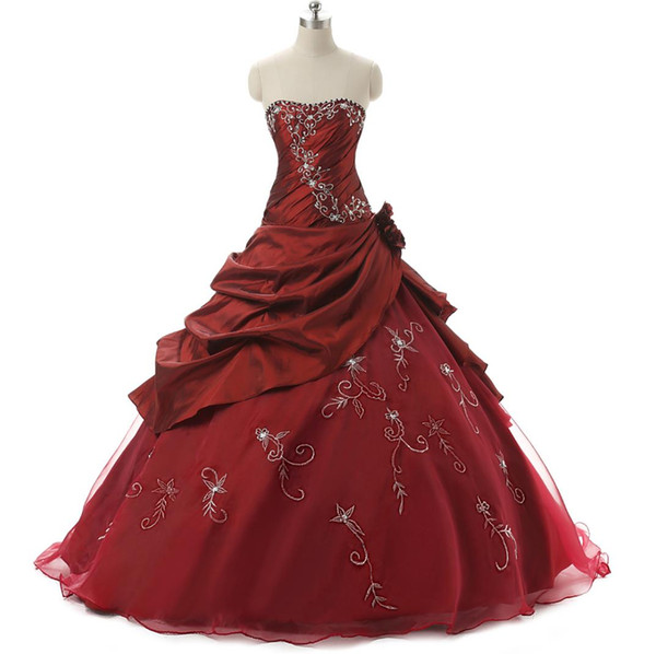 Vintage Cheap Quinceanera Dresses 2016 Real Photo With Embroidery Beaded Burgundy / Purple / Royal Blue Sweet 15 16 Girls Prom Ball Gowns