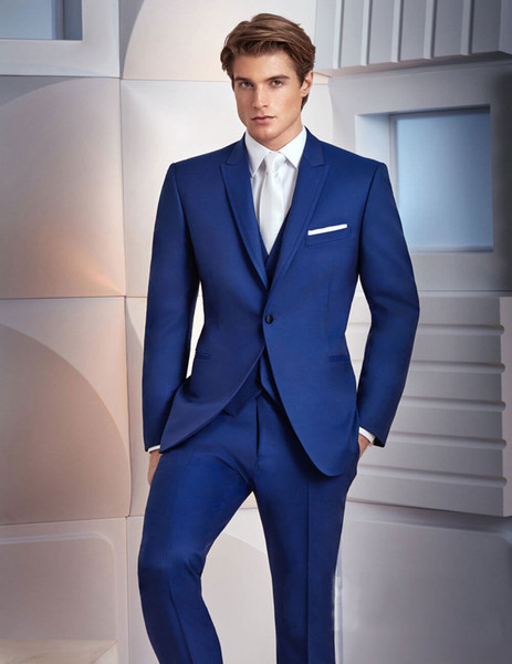 High Quality Royal Blue Tuxedos Slim Fit Mens Wedding Suits One Button Groom Wear Three Pieces Cheap Formal Suit(Jacket+Pants+Vest+Bow Tie)