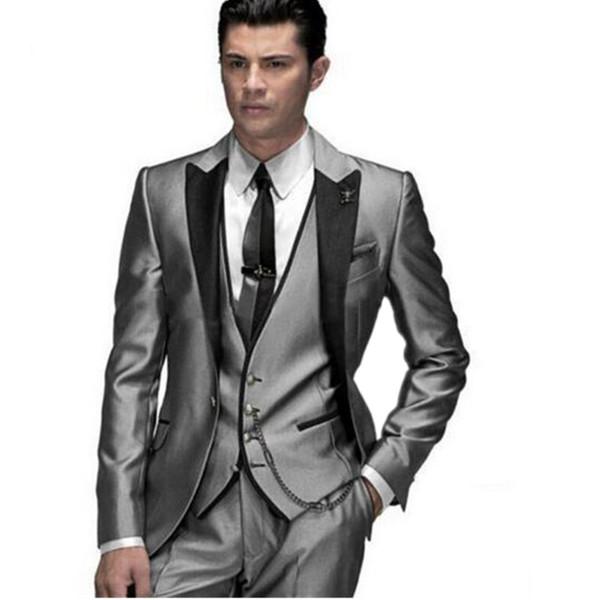 Compre Traje De Hombre Hecho Traje Azul Oscuro Traje De Plata Para Hombre Vestido De Novia Traje De Novia Para Hombre Y Mujer Traje De Hombre Mejor