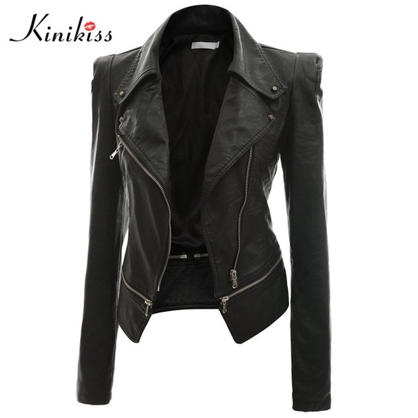 top popular Wholesale-Kinikiss fashion women short black leather jacket coat autumn sexy steampunk motorcycle Faux leather jacket female gothic coat 2020