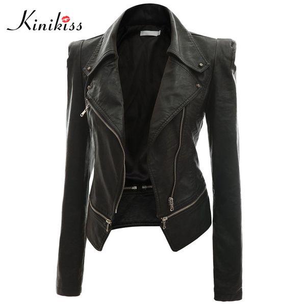 All'ingrosso- Kinikiss 2017 moda donna corta giacca di pelle nera cappotto autunno sexy steampunk giacca di pelle moto cappotto femminile gotico