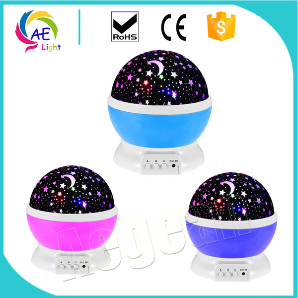 Night Light Moon Star Projector 360 Degree Rotation - 4 LED Bulbs 9 Light Color Changing for Children