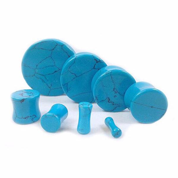 2 unids Semi Preciosa Piedra Azul Crack Ear Plug Túnel de Carne Doble Flare Gauge Expanders Mujeres Hombres Joyería Del Cuerpo 5-25mm
