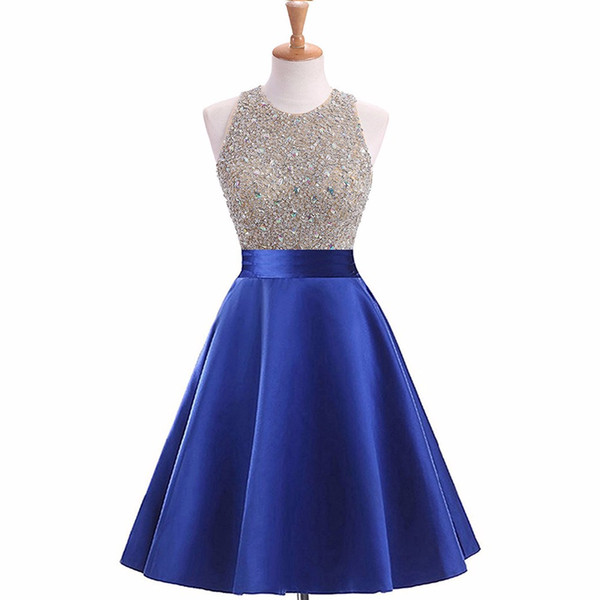 Ladies Fashion Beaded Top Cocktail Dress Knee Length A-Line Style Attractive Open Back Short Dress Birthday Party