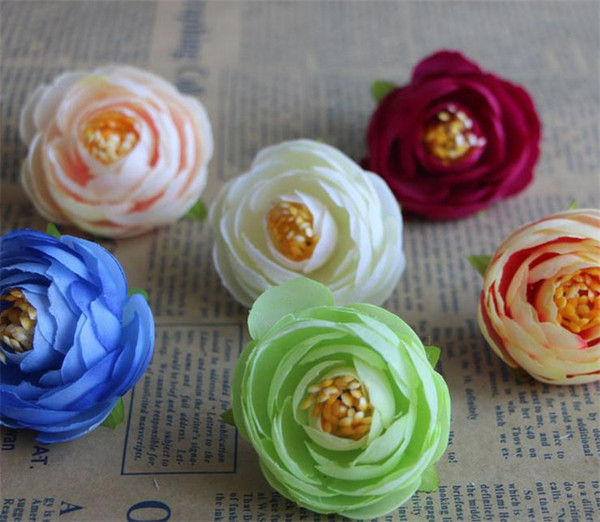 HOT Silk Camellia Flower Head Dia. 4cm Artificial Flowers Tea Rose Rosebud for DIY Bridal Bouquet Headdress Accessories 6 Colors Available