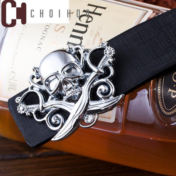 Wholesale- Fashion men's Canvas belt skull Metal tactics woven belt PU belt Casual pants Cool wild gift for men belts Skull large size 19