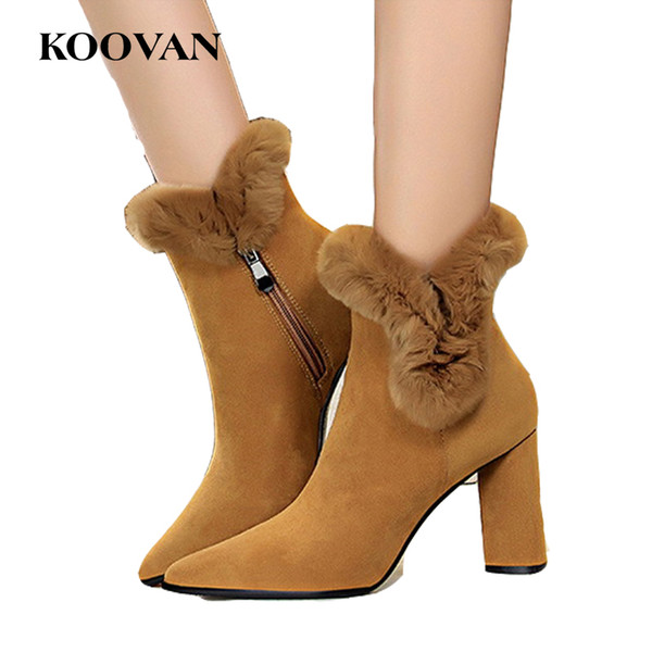 Koovan Winter Flock leather Fashion Ankle Boots Ladies 8.5 Cm Chunky Heel Shoes 2017 Rabbit Hair High Quality Wholesale W504