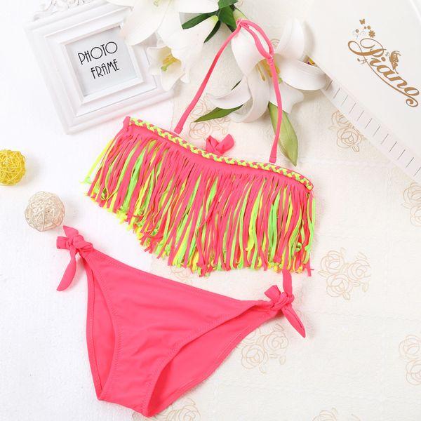 094624d3a9459 Summer Girls Two Piece Fringe Swimwear Triangle Halter Neck Swimsuit For  Teenagers little kids bikini Children
