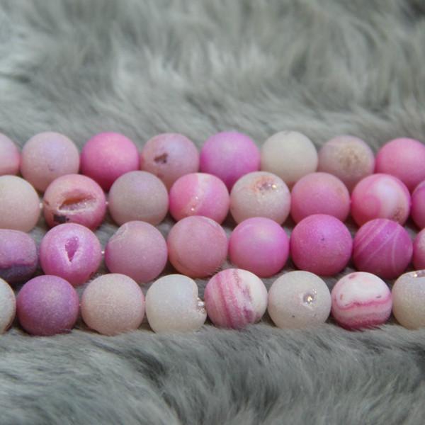 10mm 38pcs FreeTitanium Pink Druzy Agate Beads Natural Gemstone Crystal Quartz Druzy Agate Necklace Pendant Jewelry Make Connector