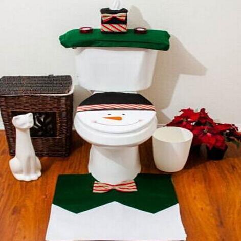Kardan adam klozet kapağı ve kilim banyo seti yılbaşı dekorasyon, tuvalet kapağı, tank kapağı, doku kutuları, pedleri