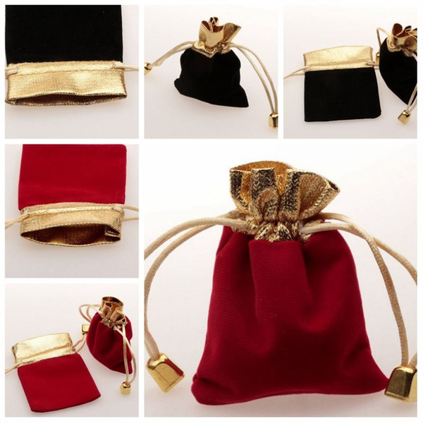 best selling Hot ! Red   black velvet Jewelry Gift Bags Drawstring Bags 7 x 9cm Wedding Party Christmas Favor Gift Bags