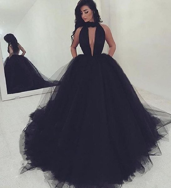 Sexy Halter Backless Black Prom Dresses 2017 New Long Formal Dress Evening Wear Puffy Tulle Women Cocktail Party Gowns Custom Made