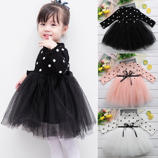 Cute Kids Clothing Baby Girl Clothes Knitted Girls Dresses White Black Pink 3 Colors Princess Long Sleeve Dot Lace Tutu Dress Girls Clothing