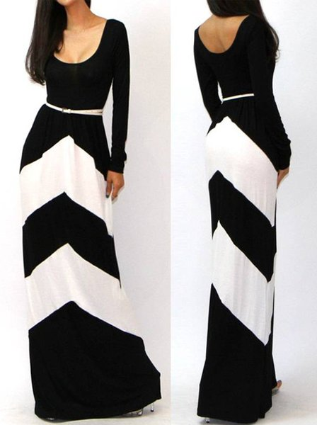 2019 Plus Size XXL New Summer Dress 2016 Women Casual Maxi Dress Color  Block Long Sleeve Pleated Novelty Floor Length Long Dresses From ...