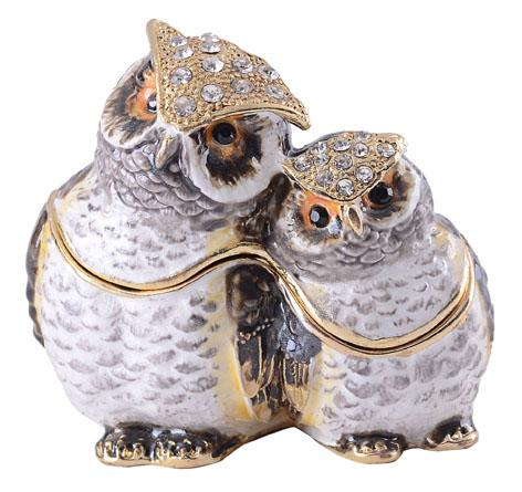 owl bejeweled jewelry box gold animal trinket box faberge box metal vintage decoration box gift pewter figurine ornament
