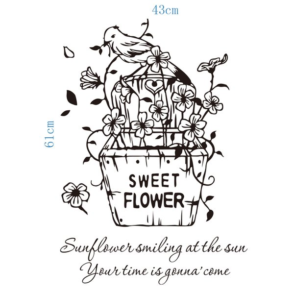 Sweet flowers wall art decals decoration wall hangings graphics