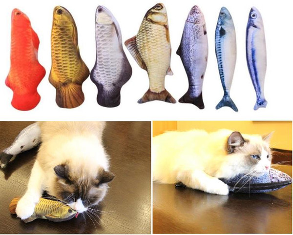 best selling 7 Style Catnip Toys for Cat Simulation Fish Pet Kitten Cushion Grass Bite Chew Funny Scratch Pillow 20cm Pet's Padded Toy