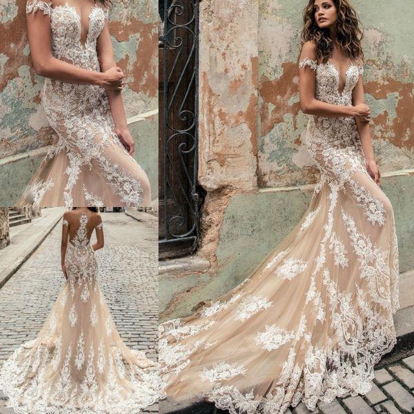 julie vino 2019 new lace mermaid wedding dresses sheer off the shoulder appliqued bridal gowns short sleeve elegant wedding dress