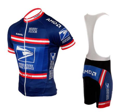 best selling Wholesale-cycling clothing 2015 USPS-Y team United States Postal cycling jersey bib short sleeve shorts +Bib   gel pad Roupa Ciclismo