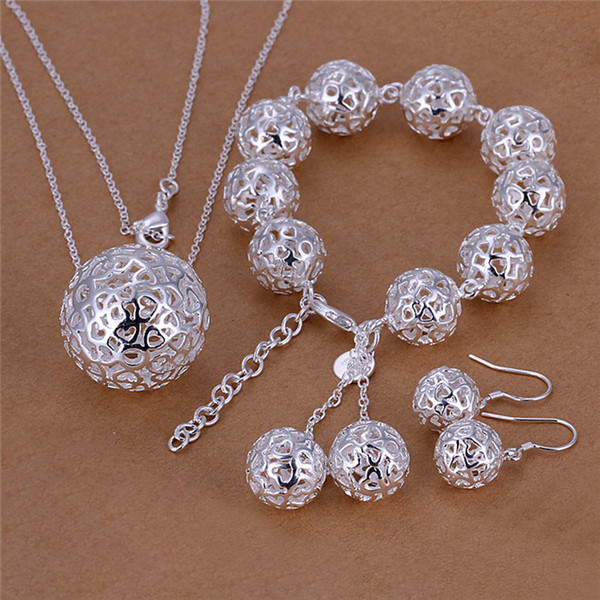 Fashion Jewelry Set 925 sterling silver hollow ball necklace & bracelet & earrings for women party gifts Free shipping