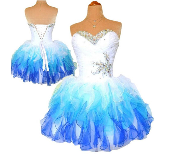 2015 Multi Homecoming Dress Royal Blue And White Ombre Corset and Tulle Shiny Beaded Cheap Prom Dresses Formal Party Wear Fancy Lovely Gowns