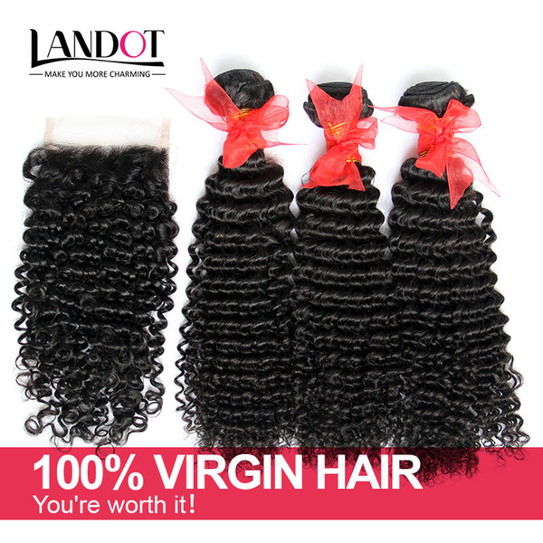 Brazilian Kinky Curly Virgin Hair With Closure 7A Grade Unprocessed Deep Curly Human Hair Weave 3Bundles And 1Pcs Top Lace Closures Size 4x4