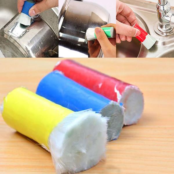 2 pçs / lote Magia Vara Descontaminação De Aço Inoxidável Escova de Limpeza Escova De Limpeza De Metal Removedor de Vara Wash Pote WX9-159
