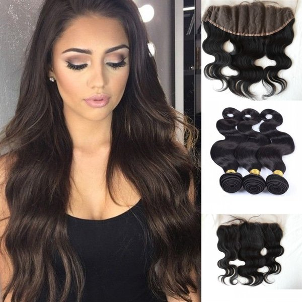 13x4 Peruvian body Wave Lace Frontal Closure With Bundles Peruvian Virgin Hair With Closure weave G-EASY free shipping