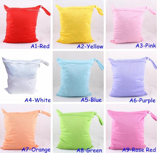 best selling 10pc Sample Solid Color wet diaper bags AIO One Zippered Reusable TPU Waterproof baby Cloth Diaper Wet Dry Bags 9Colors Choose