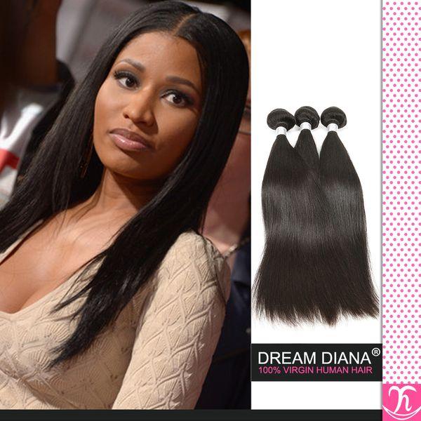 Топ Реми человеческие волосы соткать черный (цвет 1B ), бразильские наращивание волос шелковистой Прямой, 4 шт. / лот, супер качество волос ткачество дешевые волосы