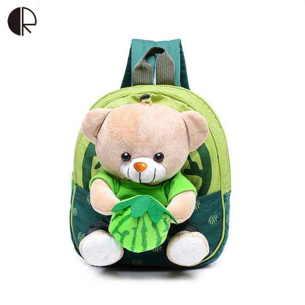2016 New Cute Kids School Bags Cartoon Bear Dolls Applique Canvas Backpack  Mini Baby Toddler Book Bag Kindergarten Rucksacks 656 110b7482f1f68