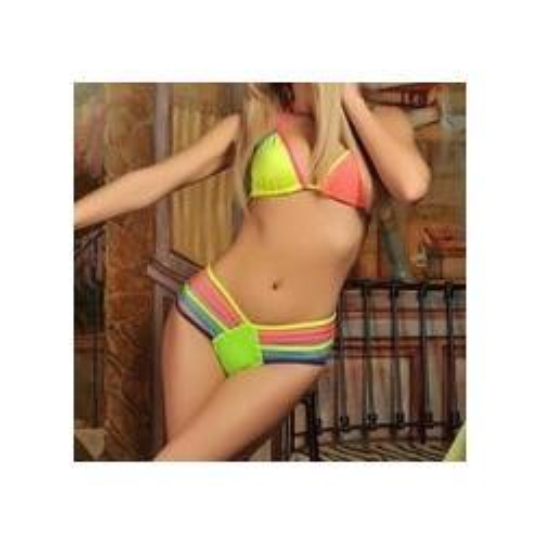 2015 sexy Traingle bikini Strappy swimsuit neon Color Rainbow swimwear for women's swimwear Biquinis bathing suit Bikinis Set