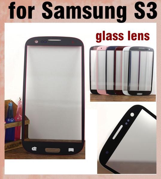 Samsung galaxy s3 lente de vidrio exterior piezas de reparación de la pantalla frontal del teléfono inteligente pantalla de reemplazo de la pantalla s3 pantalla táctil del panel envío gratis SNP008