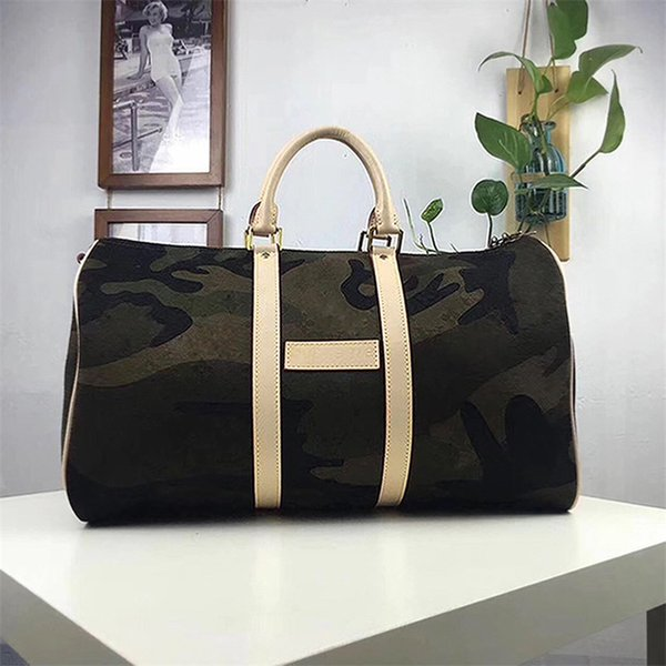 top popular CAMO LUXURY And Fashion Brand KEEPALL BANDOULIERE 45 DUFFLE CAMOUFLAGE HAND BOSTON BAG RED M43466 BANDOULIERE Man And Women Duffel Bags 2019
