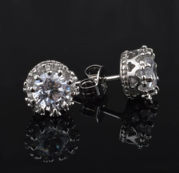 Brand NEW!1CT Austrian Crystal 925 sterling Silver plating 30% White GOLD Crown Wedding Stud Earring Elements Engagement Jewelry