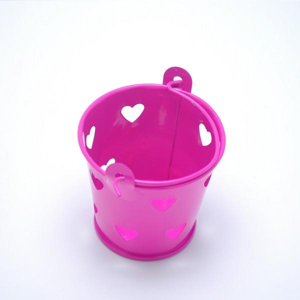 100pcs 다채로운 심장 중공업 틴 양동이 미니 양동이 웨딩 사탕 상자 Casamento 초콜릿 호의 상자 무료 배송 ZA3703