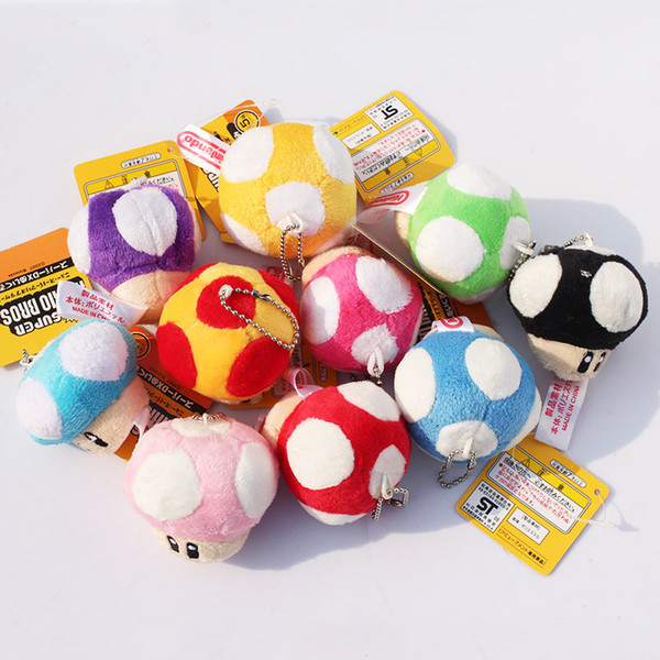 """best selling Super Mario Bros Mushroom With Key Chain Plush Doll 2.5"""" Toy doll 10colors Free shipping"""
