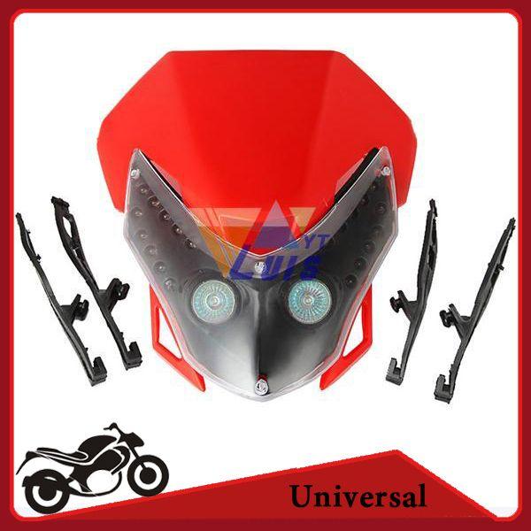 Универсальный мотоцикл светодиодные фары обтекатель двойной спорт велосипед грязи уличный истребитель свет лампы для Honda Yamaha Suzuki Kawasaki Red order$18no t