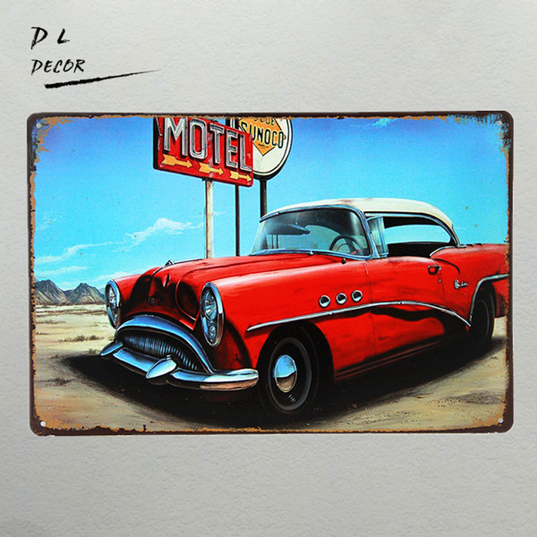 DL- Route 66 ,Red Car Tribute , 30cm X 20cm Retro Metal Vintage Look Wall Art Sign